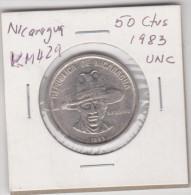 NICARAGUA KM429  50 CENTAVOS 1983 UNC RARE SMALL MINTAGE COIN SANDINO - Nicaragua