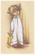 AS: Bonnie, Little Girl On Her Nightgown Holding A Teddy Bear 30-50´s - Künstlerkarten