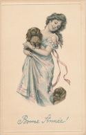 """ENFANTS - LITTLE GIRL - MAEDCHEN - CHIEN - DOG - Jolie Carte Fantaisie Portrait Fillette Et Chiens De """"Bonne Année"""" - New Year"""