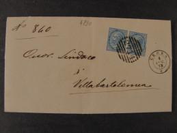 """ITALIA Regno-1877- """"Effigie"""" C. 10 Coppia CEREA>VILLA BARTOLOMEA (descrizione) - 1861-78 Vittorio Emanuele II"""