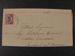 """ITALIA Regno-1878- """"Ondine"""" C. 2 Su 5.00 VITERBO>SORIANO NEL CIMINO (descrizione) - 1861-78 Vittorio Emanuele II"""