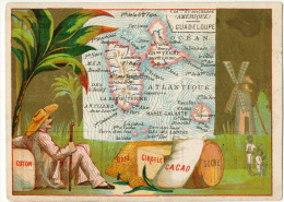 Chromo Carte Geo Guadeloupe Marie Galante Saintes Café Coton Cacao Sucre Moulin A Vent Windmill - Trade Cards