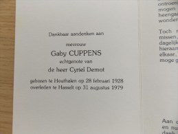 Doodsprentje Gaby Cuppens Houthalen 28/2/1928 Hasselt 31/8/1979 ( Cyriel Demot ) - Religión & Esoterismo