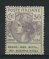 ENTI PARASTATALI - ASSOC.NAZ.MUTIL.INV.GUERR A ROMA - ANNO 1924 - ( N° 9 ) LINGUELLATO - 1900-44 Victor Emmanuel III.
