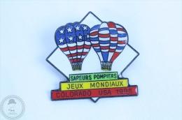Sapeurs Pompiers Jeux Mondiaux - Colorado USA 1993 - Hot Air Balloons  - Pin Badge #PLS - Bomberos
