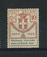 ENTI PARASTATALI - FEDERAZ. ITALIANA BIBLIOTECHE POP - ANNO 1924 - ( N° 34 ) LINGUELLATO - 1900-44 Victor Emmanuel III.
