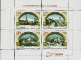 O) 2009 CARIBE, HAVANA, CIENFUEGOS, TRINIDAD, CAMAGUEY, COMMUNITY HERITAGE CITIES, SOUVENR MNH - Cuba