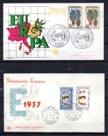 6 FDC, Europa 1957, RFA, Belgique, France, Italie, Sarre, Pays-Bas - Europa-CEPT