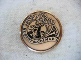 """Pin�s sur le th�me de la chasse: """"Saint Hubert de COLMAR"""". Corps de chasse, Cerf"""