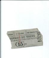 Tramways De TOURS Billet Ancien - Tramways