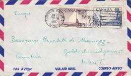 CANADA 1957 - 2 Sondermarken Auf LP-Brief Canada > Wien - Luftpost