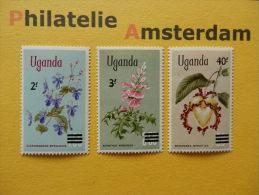 Uganda 1975, OVERPRINT / FLORA FLEURS BLOEMEN FLOWERS BLUMEN FLORES FIORI: Mi 120-22, ** - Flora