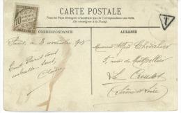 Timbre  Taxe 10 Centimes  à Percevoir  +Obliteration  Paris 1908 Sur Carte Postale Paris L'Obélisque - Taxes
