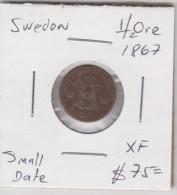 SWEDEN 1/2 ORE 1867 XF NICE CONDITION RARE COIN SMALL DATE - Suède