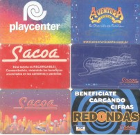 LOTE DE 6 TARJETAS  DE CASAS DE VIDEOJUEGOS DIFERENTES BUENOS AIRES ARGENTINA CON BANDA MAGNETICA RARE COMPOSITION - Cartes De Casino