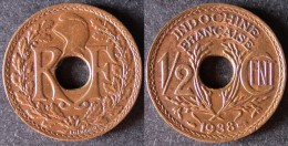 INDOCHINE  1/2 Cent 1938   INDO CHINA    PORT OFFERT - Colonies