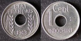 INDOCHINE FRANCAISE  1 Cent 1943  INDO CHINA  INDOCINA  PORT OFFERT - Cambodja