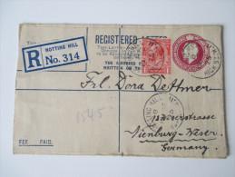 Registered Letter 1925 Notting Hill - Nienburg 6 Stempel / Six Cancels. Bahnpoststempel Hannover - Wilhelmshaven Zug 132 - 1902-1951 (Könige)