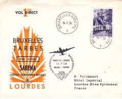 Bruxelles Tarbes Lourdes - 1er Vol Sabena 1954 - Marcophilie