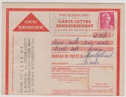 Carte Lettre Remboursement De  Montbéliard  Du  08 12 1956 - Marcophilie (Lettres)