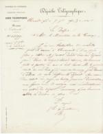 Dépêche Télégraphique 7/9/1870 Clermont -> Ministre Guerre Demande Ordre De Marche Pour Bataillon De Mobile.(2 Scans) - Postmark Collection (Covers)