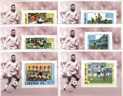0825 Football Soccer Pele Deluxe Liberia 6S/s Set MNH Imperf - World Cup