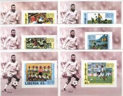 0825 Football Soccer Pele Deluxe Liberia 6S/s Set MNH Imperf - Copa Mundial