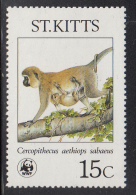 St. Kitts MNH Scott #189 15c Cercopithecus Aethiops Sabaeus - World Wildlife Fund - St.Kitts-et-Nevis ( 1983-...)