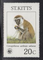 St. Kitts MNH Scott #190 20c Cercopithecus Aethiops Sabaeus - World Wildlife Fund - St.Kitts-et-Nevis ( 1983-...)