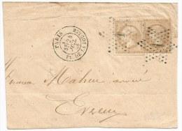 - Lettre - SEINE - PARIS - Etoile N°1 PL. Der La Bourse S/Paire TP N°21 Deux Nuances + Càd T.17 - 1868 - 1871-1875 Cérès