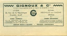 Reclame Uit 1948 - Gignoux & Co - Chimie Minérale - Lyon - Usines - Neuville-sur-Saone - Pubblicitari