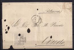 1872, ENVUELTA CIRCULADA DE RIBADEO A OVIEDO, 12 CUARTOS, ED. 122 - 1872-73 Königreich: Amédée I.