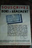 GUERRE 1939-1945- MILITARIA- SOUSCRIVEZ AUX BONS D' ARMEMENT - PAUL REYNAUD -IMPRIMEUR SCHUSTER PARIS - Affiches