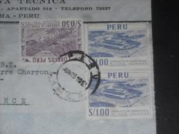 LETTRE PEROU PERU AVEC YT 444 ET 443 - FORTERESSE INCA PARAMONGA - AGRICULTURE MAIS - - Peru