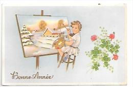 Bonne Année. Petite Fille Qui Peint Un Tableau Paysage De Noël. Palette, Trèfles, Roses. Coloprint 53090 - Año Nuevo