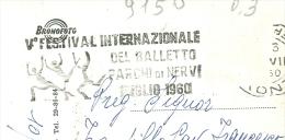Festival  Internazionale Del Balletto V°, Nervi 1960, Timbro Targhetta Figurata Su Cartolina  Viaggiata - Theater