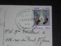 LETTRE PEROU PERU AVEC YT PA 392 - NOEL NATIVITE - CPM MACHU PICCHU - - Pérou