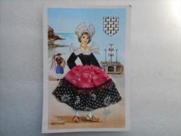 Carte Postale 22  Bretagne  Illustrateur ELSI GUMIER  Poupée  BRETONNE Robe Brodée -  éditions Vacances 22190 Plérin - Brodées