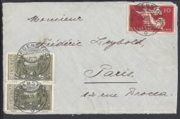 SUISSE - 1919 -  DEVANT DE LETTRE DE BURGENSTOCK A DESTINATION PARIS - - Lettres & Documents