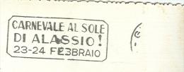 CARNEVALE AL SOLE DI ALASSIO, TIMBRO TARGHETTA GENOVA SU CARTOLINA VIAGGIATA 1952, - Carnival