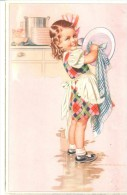 POSTAL   FREGANDO PLATOS  (  WIENER KUNST, ART.  620/3 ) - Niños