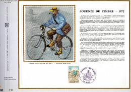 Feuillet Tirage Limité CEF 191 Soie Journée Du Timbre Facteur Rural à Bicyclette Nice - France