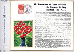 Feuillet Tirage Limité CEF 199 Soie Union Nationale Des Donneurs De Sang Bénévoles Des P.T.T. Nantes - France