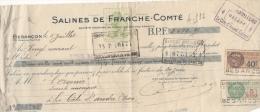 Chèque 5 Juillet 1930 Salines De Franche Comté 20 Avenue CArnot Besançon à L'avenir SA La Côte Saint André Isère RARE !! - Cheques & Traverler's Cheques