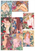 LOT DE 8 CARTES : Nues Et Belles D´autrefois - Illustration H. Gueffier - Thème érotique Art Nouveau Nu Nude Naked Women - Pin-Ups