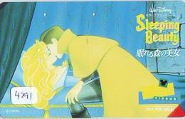 Télécarte JAPON * DISNEY (4291) Phonecard Japan * TELEFONKARTE * SLEEPING BEAUTY * CINEMA * FILM * Bleached By The Sun - Disney