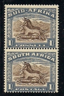 SOUTH AFRICA UNION, 1933, Mint  Hinged Stamp(s), 1 Shilling Chalky Brown, Vertical Pair ,  Nrs. 61, # 274 - South Africa (...-1961)