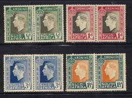 SOUTH AFRICA UNION, 1937, Mint  Hinged Stamp(s), Coronation Pairs (not Complete)  Nrs 109=116 #337 - South Africa (...-1961)