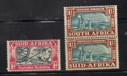 SOUTH AFRICA UNION, 1938, Mint  Hinged Stamp(s), Voortrekkers (3 Values Only) Nrs 127=130 #341 - South Africa (...-1961)