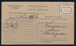 N°15A Ravitaillement Sur Carte Questionnaire De Paris 13è Pour Larzac (Dordogne) - Lettres & Documents